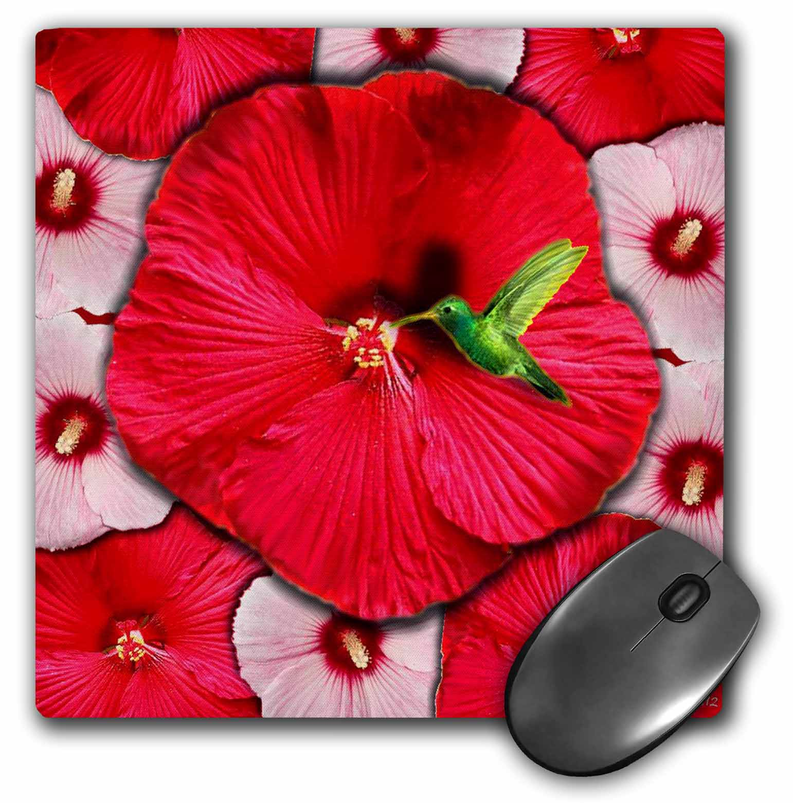 3dRose Hummingbird and Red Hibiscus, Mouse Pad, 8 by 8 inches