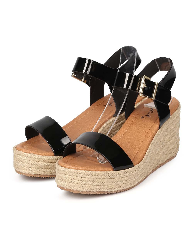 e9aa407d2f2 Qupid - Qupid EK50 Women Patent Peep Toe Espadrille Low Wedge Sandal -  Walmart.com