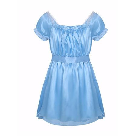 Mens Satin High Low Design Crossdress Lingerie Dress - Design Gown