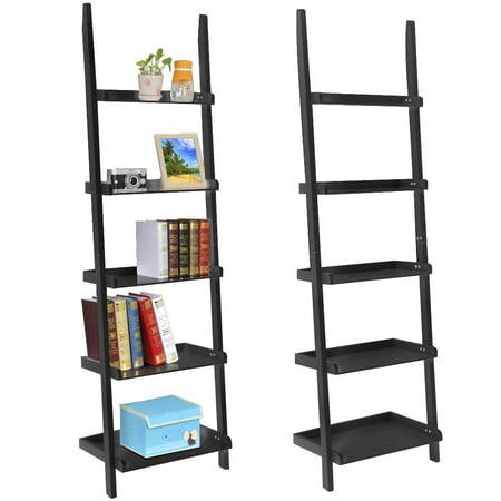Yaheetech 5 Tier 70 Wood Ladder Shelves Display Shelves Book Magazine Shelf 2 Colors Black