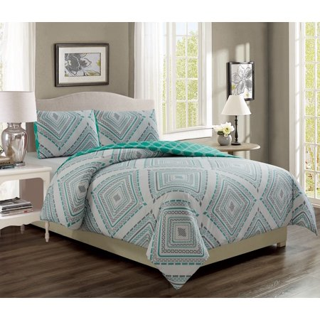 Destin Aqua/Gray Reversible Bed in a Bag w/600TC Cotton Sheet Set (Bed In A Bag Blue And White)