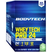 BodyTech Whey Tech Pro 24 Protein Powder  Protein Enzyme Blend with BCAA's to Fuel Muscle Growth  Recovery, Ideal for PostWorkout Muscle Building  Chocolate Mint (12 Packets)