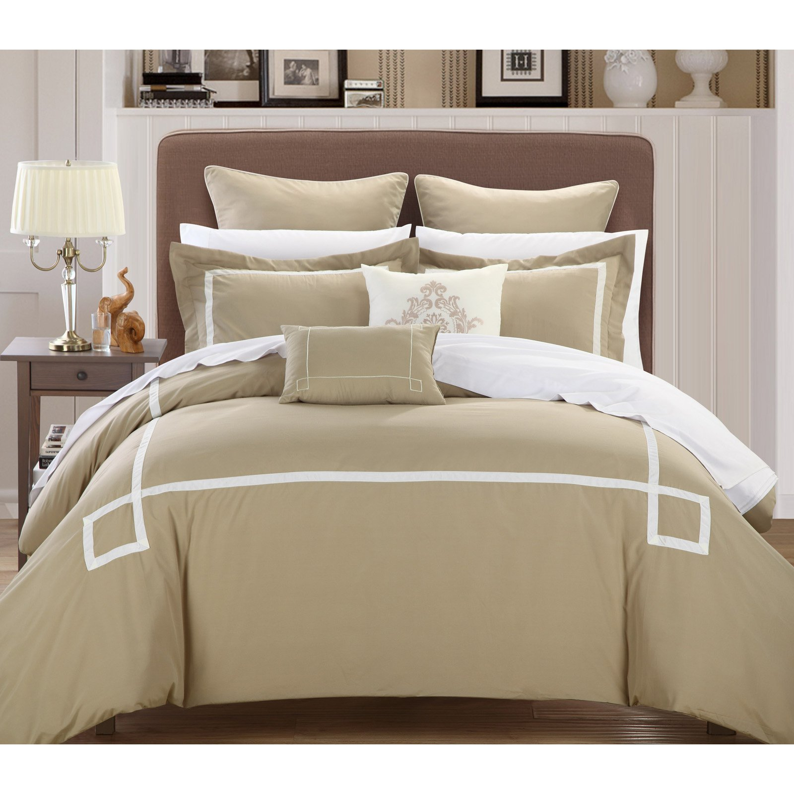 Chic Home Woodford 11 Piece Bed in a Bag Embroidered Comforter Set with 4 Piece Sheet Set