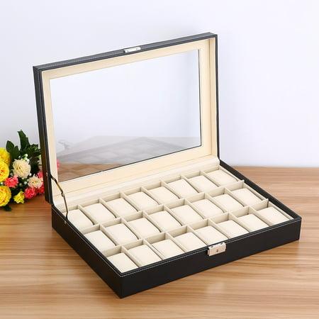 Mgaxyff Warch Display Box, Bracelet Storage Box,24 Grid Watch PU Leather Display Case Storage Jewellery Box Bracelet Tray Holder