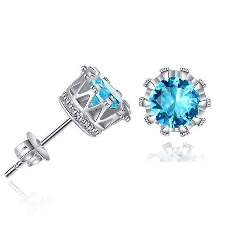 Majestic Crown IOBI Crystal Stud Earrings in Four Colors Aqua / Luxurious Upgrade