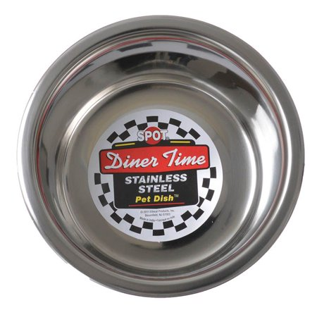Ethical Ss Dishes-Stainless Steel Mirror Pet Dish- Stainless Steel 1 Quart Stainless Steel Mirror Pet Dish