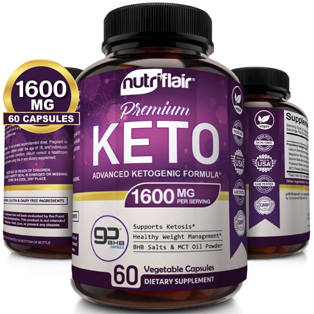 NutriFlair Keto Diet Pills 1600mg - Advanced Weight Loss Ketosis Supplement - BHB Salts (beta hydroxybutyrate) Ketogenic Fat Burner and Carb Blocker - Best Keto Capsules - Keto Pills for Women and Men