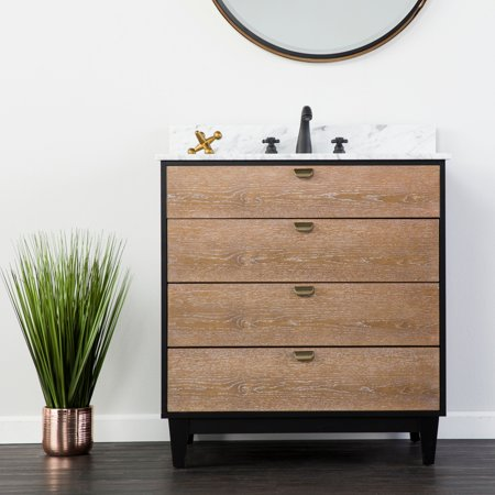 Holly & Martin Tobin Bath Vanity Sink w/ Marble Top, Industrial Style, Limed Burnt Oak w/ Black and Gray Marble