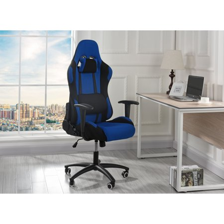 Computer High Back Gaming Chair with Lumbar Support and Headrest, Blue