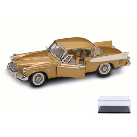 Diecast Car & Display Case Package - 1958 Studebaker Golden Hawk, Gold - Road Signature 20018G - 1/18 Scale Diecast Model Toy Car w/Display Case