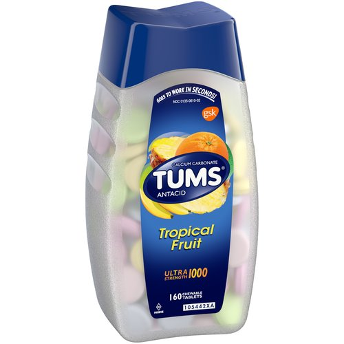 Tums Ultra Strength Chewable Tablet, Assorted Tropical Fruit, 160 Ct