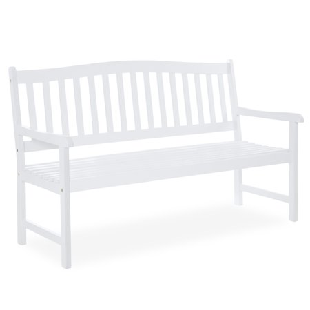 Best Choice Products 60in Classic Acacia Wood Outdoor Bench for Patio, Garden, Backyard, Porch - White ()
