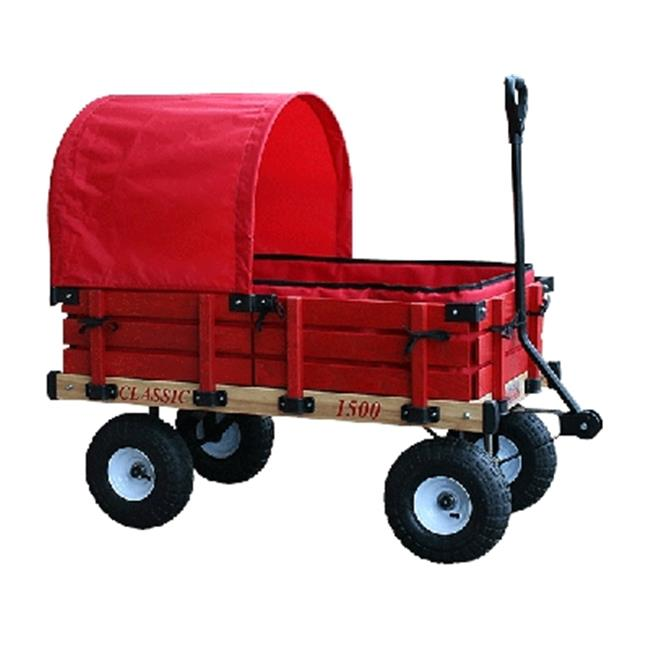 Millside Industries 04158 20 inch x 38 inch Wooden Covered Wagon withPads with 4 inch x 10 inch Tire