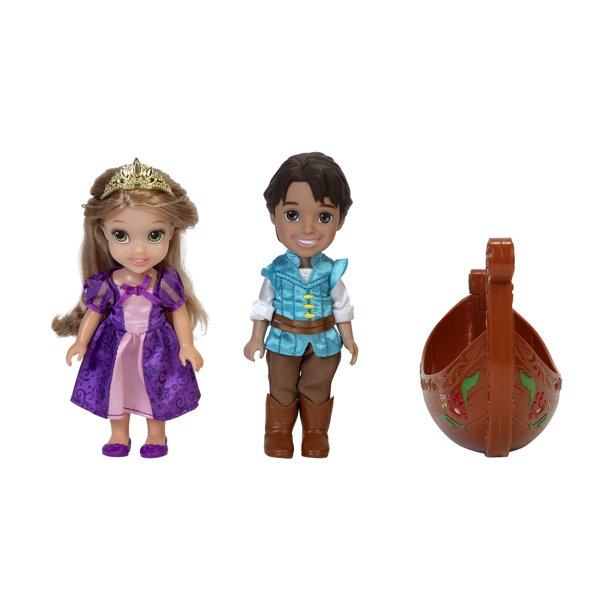 Disney Princess Rapunzel and Flynn Doll Petite Storytelling Gift Set Includes Rapunzel, Flynn and a Gondola Dolls approximately 6 inches tall
