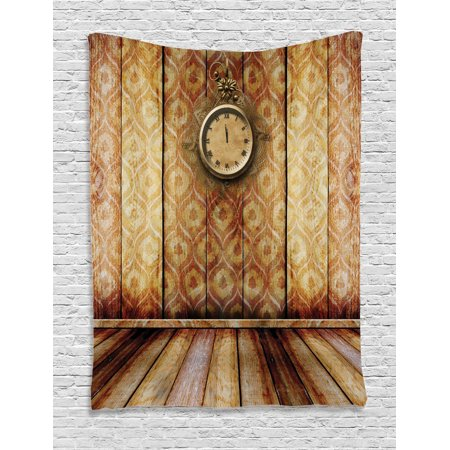 Victorian Decor Wall Hanging Tapestry, Antique Clock On Medieval Style Wall Wooden Floor Classic Architecture Theme Art, Bedroom Living Room Dorm Accessories, By Ambesonne ()