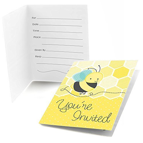 Honey Bee - Fill In Baby Shower or Birthday Party Invitations (8 count)