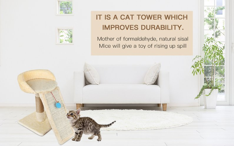 2018 New Upgraded M64 Pet Cat Tree Climbing Frame Toy with Ball Shape Bell Toy Cat Scratching Posts Cat... by