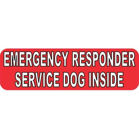 10in x 3in Emergency Service Dog Inside Vinyl Bumper Sticker Car Window (Bernese Mountain Dog Bumper Sticker)