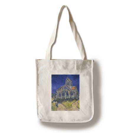 The Church in Auvers-sur-Oise - Masterpiece Classic - Artist: Vincent Van Gogh c. 1890 (100% Cotton Tote Bag - Reusable)