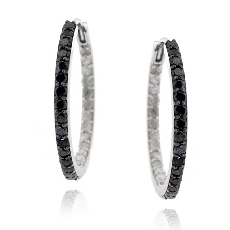 Sterling Silver 1ct TDW Black and White Diamond Hoop Earrings - Black And White Hoop Earrings