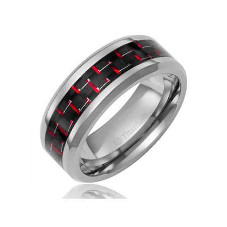 Mens Wedding Band in Titanium 8MM Ring with Black and Red Carbon Fiber