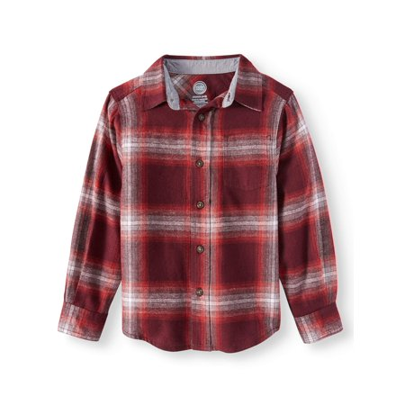 Wonder Nation Long Sleeve Flannel Shirt (Little Boys & Big Boys)
