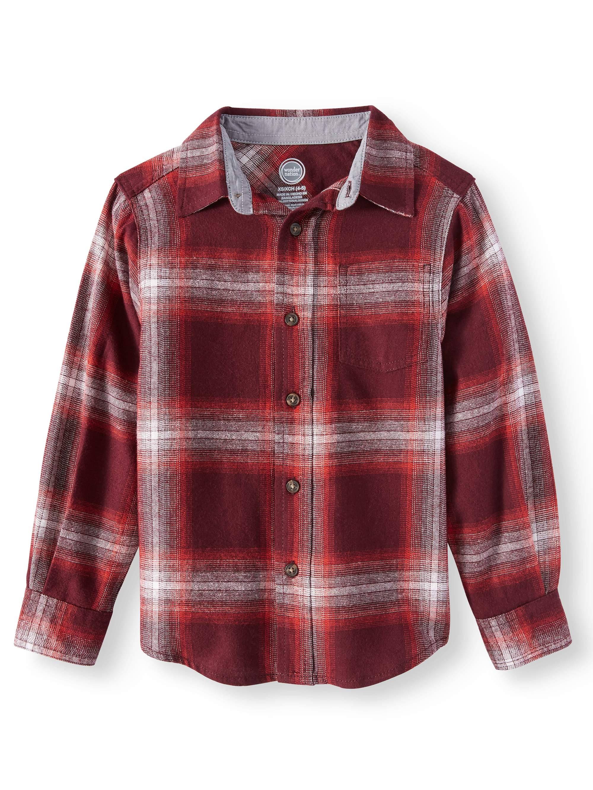 Wonder Nation Boys Long Sleeve Flannel Shirt