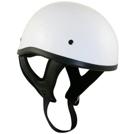 - Outlaw T68 DOT White Glossy Motorcycle Skull Cap Half Helmet