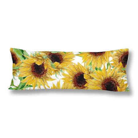 ABPHOTO Watercolor Painted Yellow Sunflower Body Pillow Covers Case Protector 20x60 inch ()