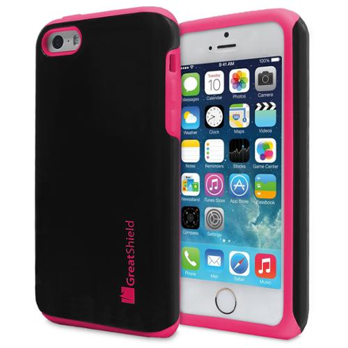 GreatShield NEON PC + Silicone Case Cover for iPhone 5/5s/5c/SE - Black/Hot Pink