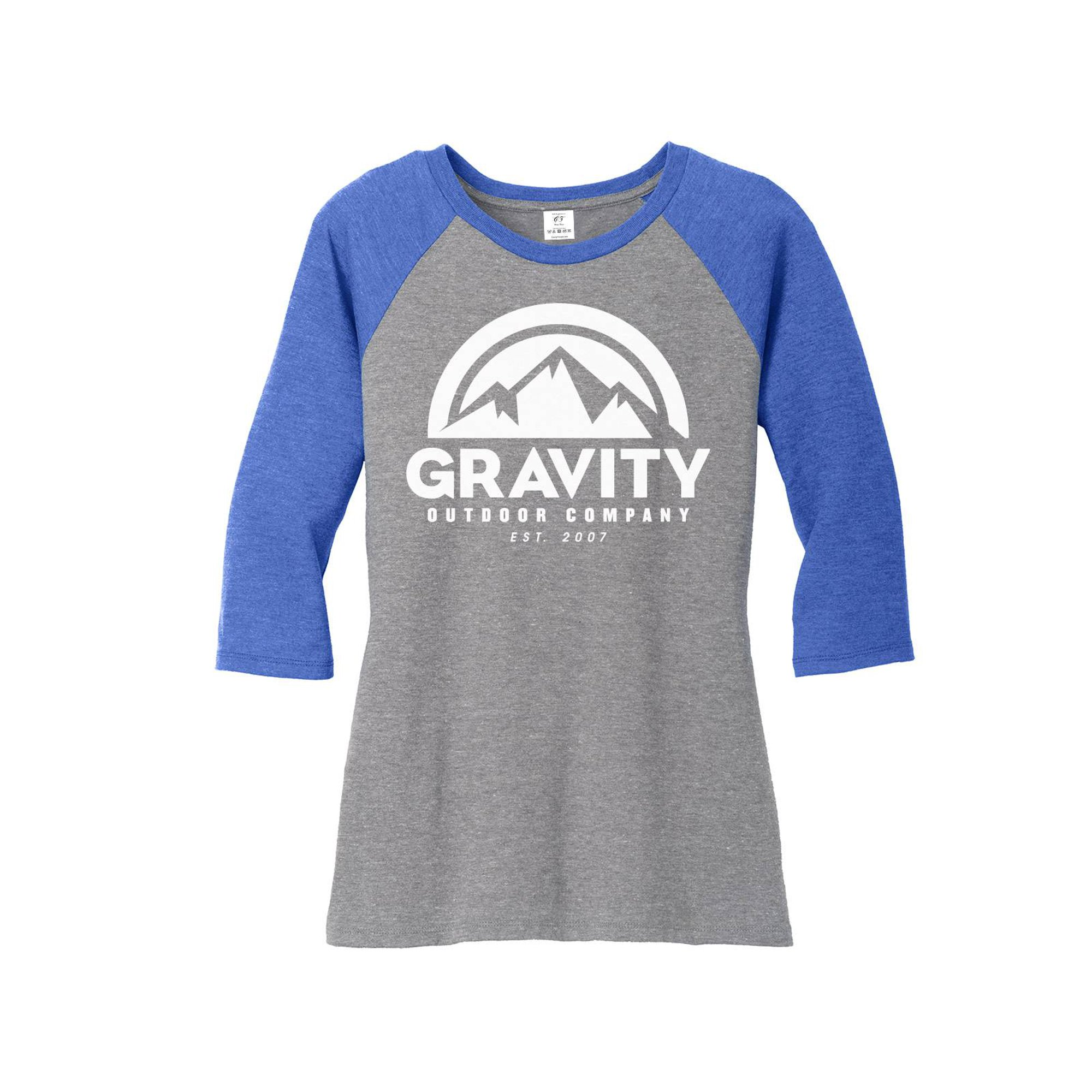 ddc03ac75c4079 Womens Gravity Outdoor Co. 3/4-Sleeve Raglan Shirt - White Logo - Royal/Grey  - 2XL | Walmart Canada
