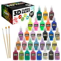 Crazy Colors 30 Color 3D Fabric Paint Set Kit - Shiny Vibrant Puffy Colors in Marker Pen Style Bottles