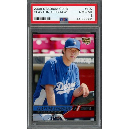 2008 stadium club #107 CLAYTON KERSHAW los angeles dodgers rookie card PSA