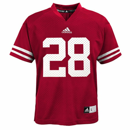 0d02adb7822 Wisconsin Badgers NCAA Adidas Red Official Home  28 Replica Football ...