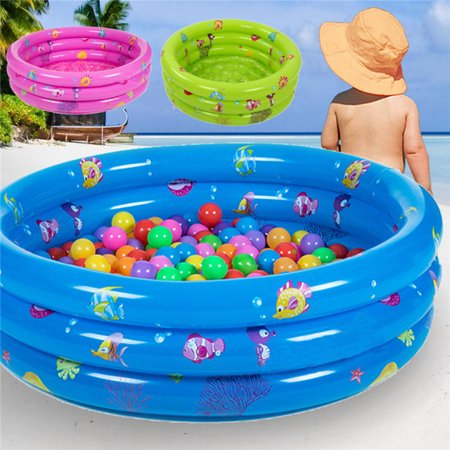 80x30cm Inflatable 3 Ring Round Swimming Pool Toddler Children Kids Outdoor Play ()