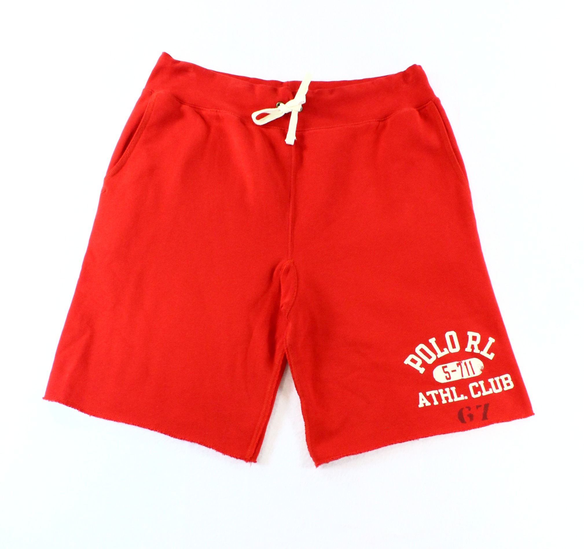 Polo Ralph Lauren NEW Red Mens XL Drawstring Casual Cut-Off Sweat Shorts $85