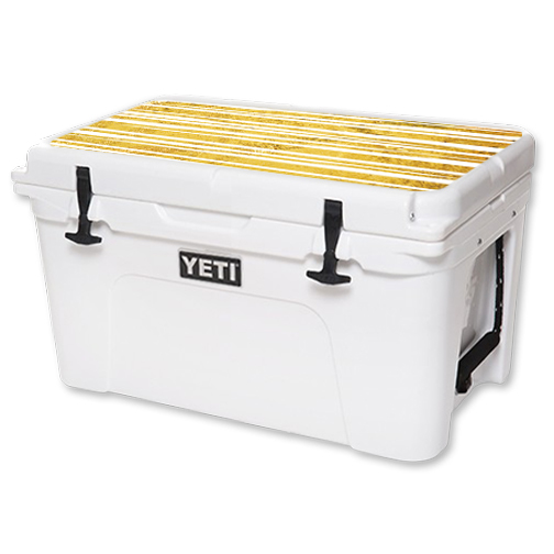 MightySkins Protective Vinyl Skin Decal for YETI Tundra 45 qt Cooler Lid wrap cover sticker skins Gold Stripes