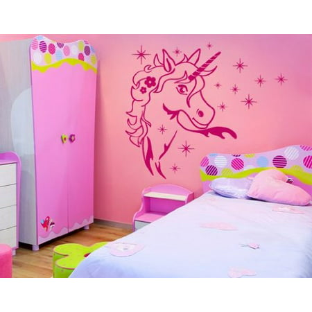 - Magic Unicorn Wall Decal - Wall Sticker, Vinyl Wall Art, Home Decor, Wall Mural - 2249 - 16in x 18in, White