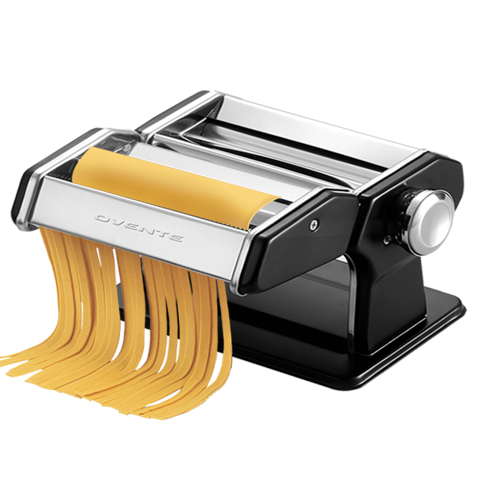 Ovente Stainless Steel Pasta Maker, Includes Hand Crank, Adjustable Countertop Clamp, and Double Pasta Cutter Attachment, 180mm, Vintage Style, 7-Position Dial, Polished Chrome (PA518S)