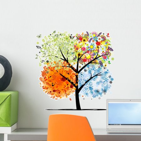 Four Seasons Spring Summer Wall Decal Sticker by Wallmonkeys Vinyl Peel and Stick Graphic for Girls (18 in H x 18 in W)