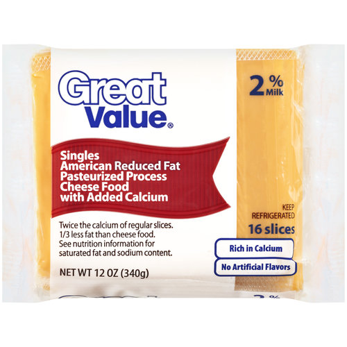 Great Value 2% Reduced Fat American Cheese Slices, 16ct