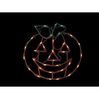 "14"" Lighted Jack-O-Lantern Halloween Pumpkin Window Silhouette Decoration"