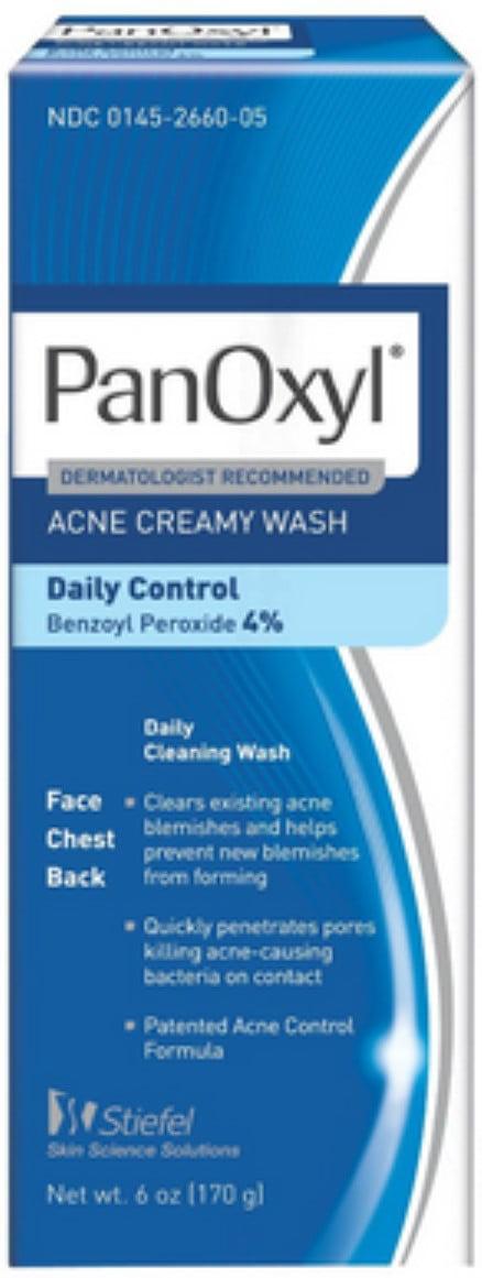 PanOxyl 4% Acne Creamy Wash, 4% Benzoyl Peroxide, 6 oz
