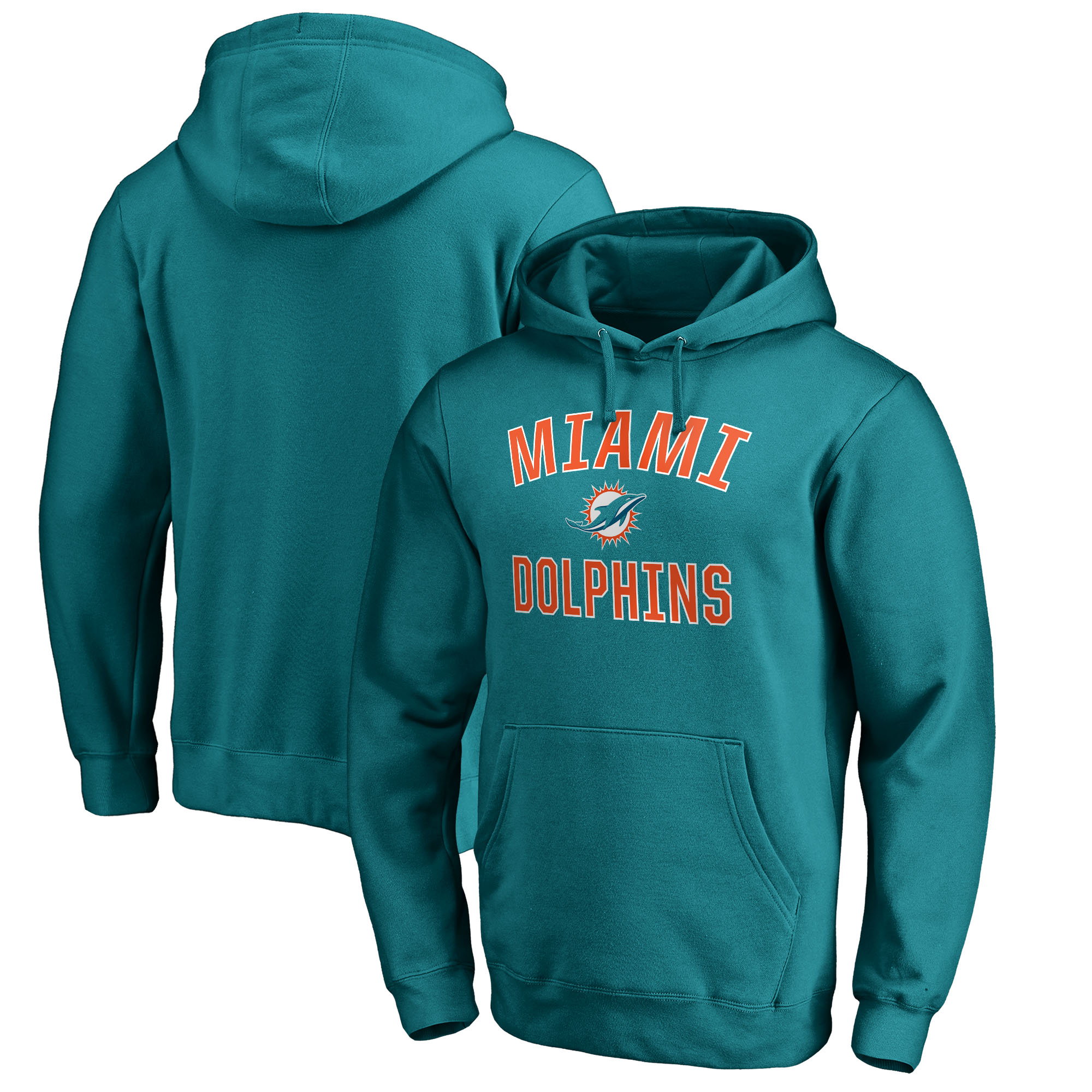 Miami Dolphins NFL Pro Line by Fanatics Branded Victory Arch Pullover Hoodie - Aqua
