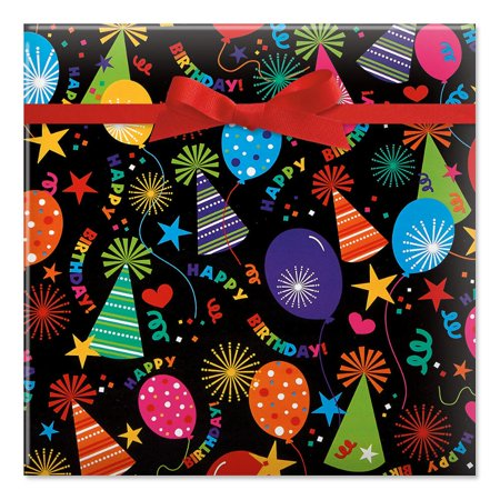 Black Birthday Hats Jumbo Rolled Gift Wrap - 72 sq ft. - Birthday Paper