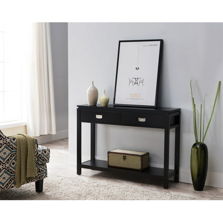 Remarkable Dylan Black Wood 2 Drawer Contemporary Occasional Entryway Console Table With Storage Shelf Machost Co Dining Chair Design Ideas Machostcouk