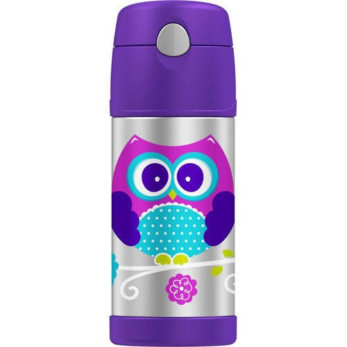 Thermos Owl Stainless Steel Straw Bottle, 12 oz