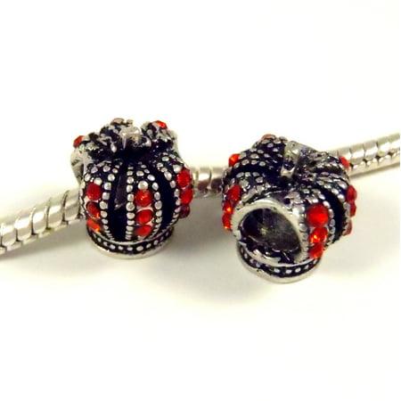 Beaded Crown (3 Beads - Queen King Crown Red Rhinestone Silver European Bead Charm)