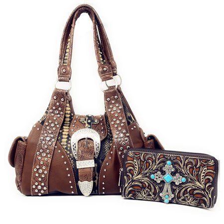 Western Rhinestone Cross Buclke Style Handbag Purse with Magnetic Closure and Matching Wallet In Multi Colors