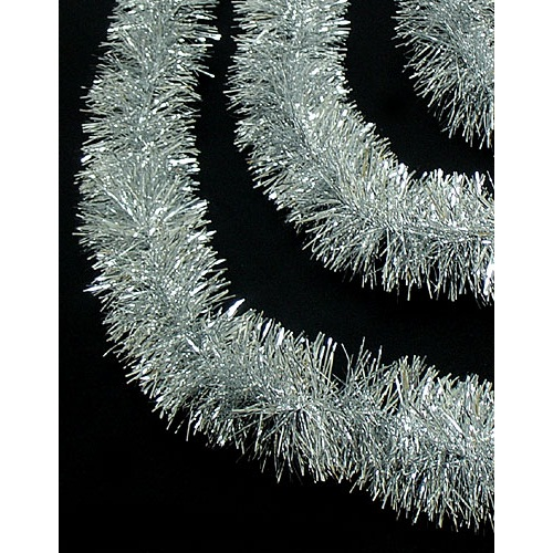 50' Festive Shiny Silver Christmas Foil Tinsel Garland - Unlit